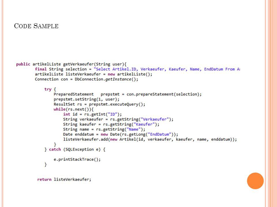 I MPLEMENTIERUNG 14 Klassen 4 DAO Klassen 2 Controller Klassen Artikel, Bewertung, Benutzer, Gebote 3 Servlets DbConnection 4 Packages Dao Model Controller Db