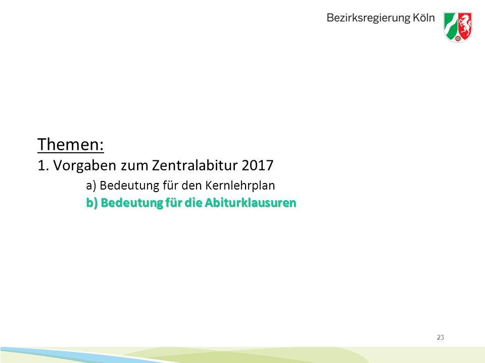 23 b) Bedeutung für die Abiturklausuren Themen: 1. Vorgaben zum Zentralabitur 2017 a) Bedeutung für den Kernlehrplan b) Bedeutung für die Abiturklausu