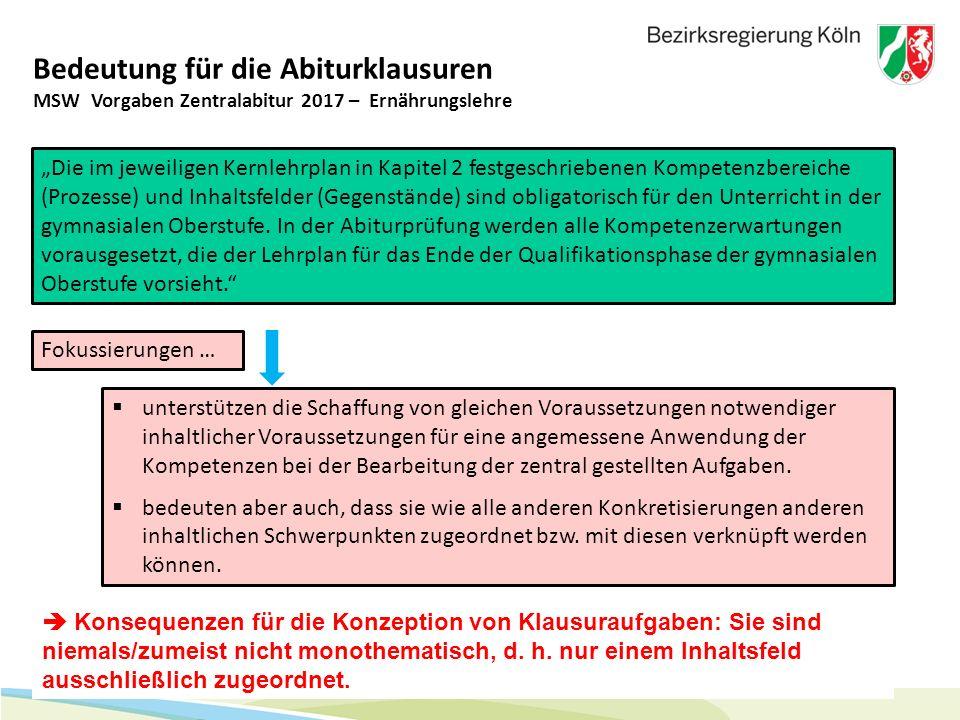 """25 Bedeutung für die Abiturklausuren """"Die im jeweiligen Kernlehrplan in Kapitel 2 festgeschriebenen Kompetenzbereiche (Prozesse) und Inhaltsfelder (Ge"""