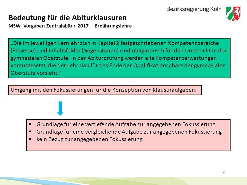 """26 Bedeutung für die Abiturklausuren """"Die im jeweiligen Kernlehrplan in Kapitel 2 festgeschriebenen Kompetenzbereiche (Prozesse) und Inhaltsfelder (Ge"""