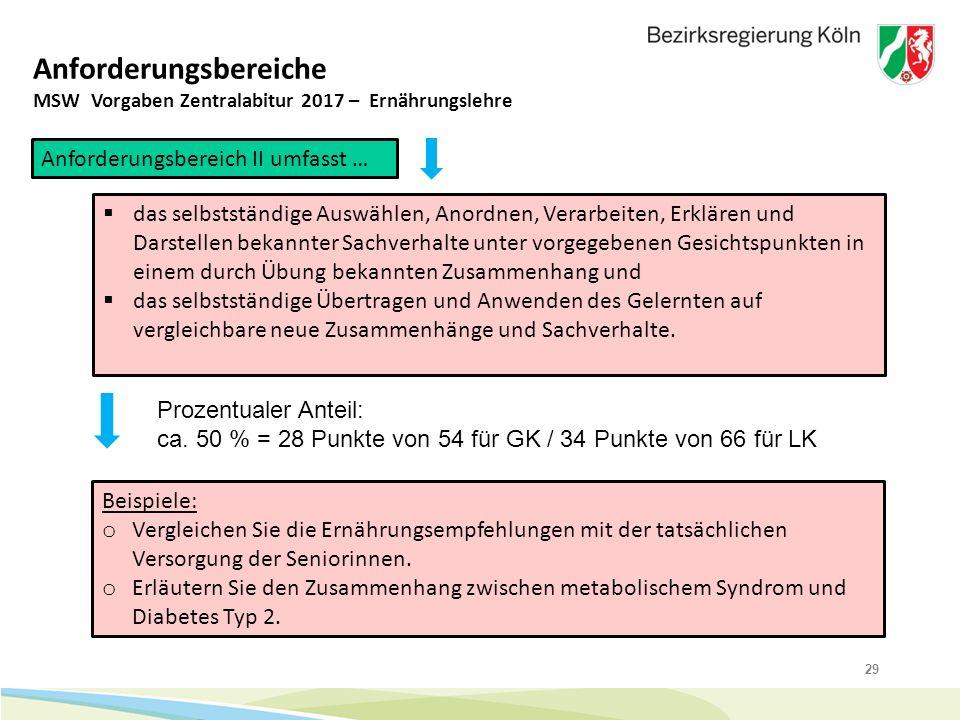 29 Anforderungsbereiche MSW Vorgaben Zentralabitur 2017 – Ernährungslehre Anforderungsbereich II umfasst …  das selbstständige Auswählen, Anordnen, V