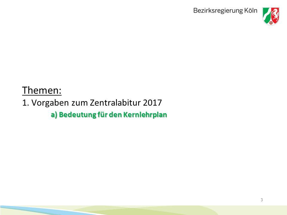 3 a) Bedeutung für den Kernlehrplan Themen: 1. Vorgaben zum Zentralabitur 2017 a) Bedeutung für den Kernlehrplan