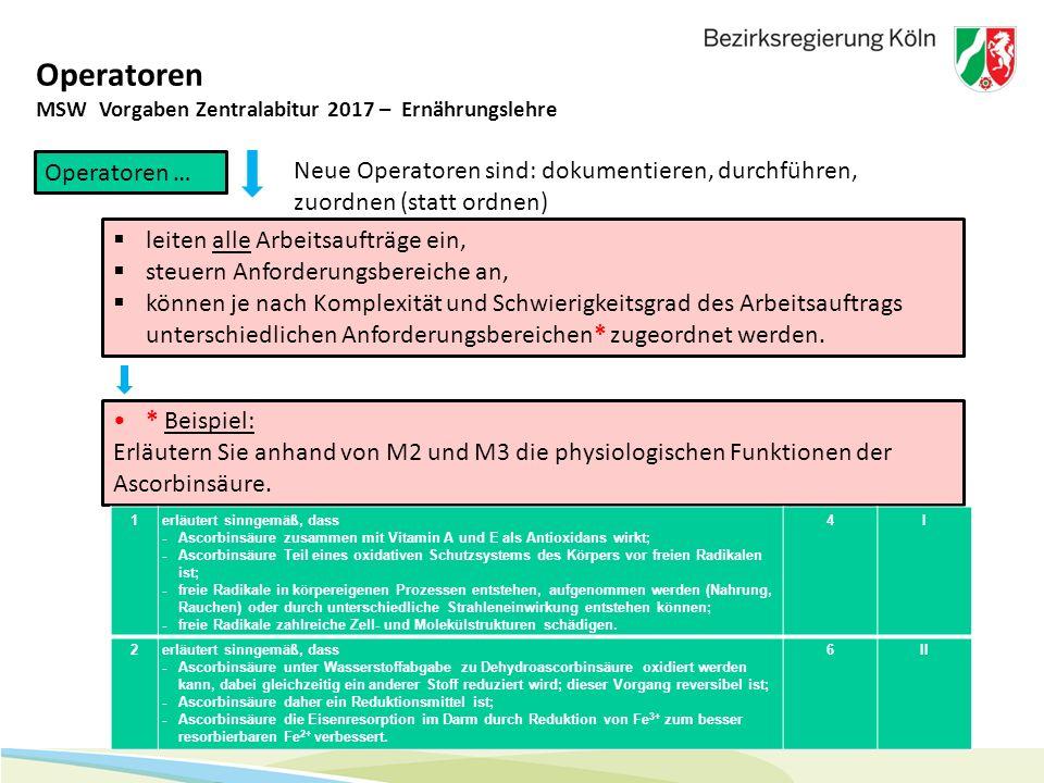 31 Operatoren MSW Vorgaben Zentralabitur 2017 – Ernährungslehre Operatoren …  leiten alle Arbeitsaufträge ein,  steuern Anforderungsbereiche an,  k