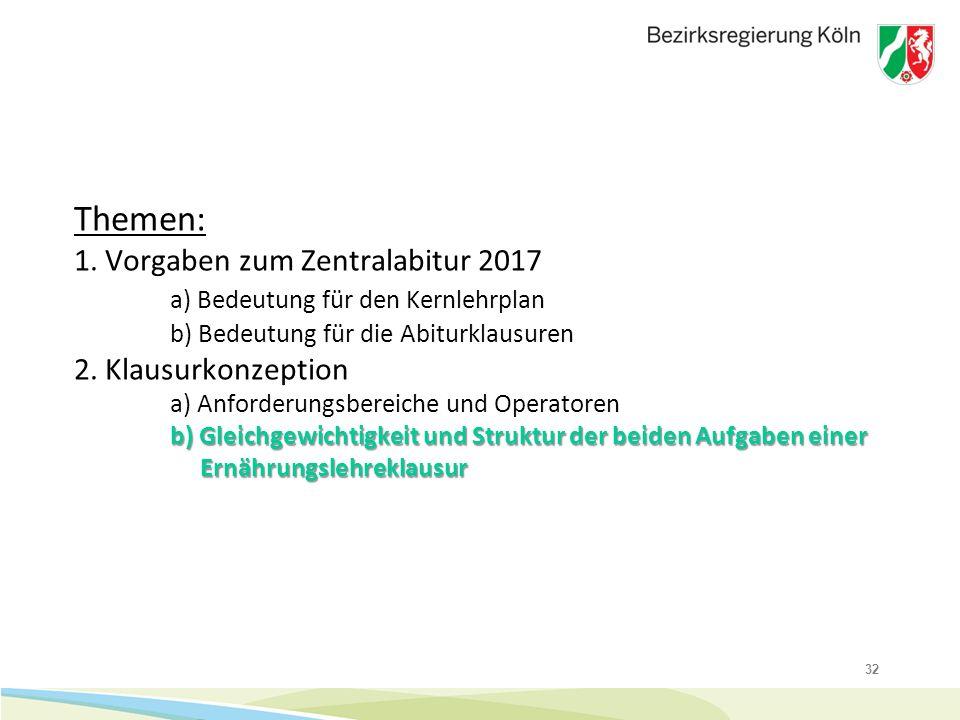 32 b) Gleichgewichtigkeit und Struktur der beiden Aufgaben einer Ernährungslehreklausur Themen: 1. Vorgaben zum Zentralabitur 2017 a) Bedeutung für de