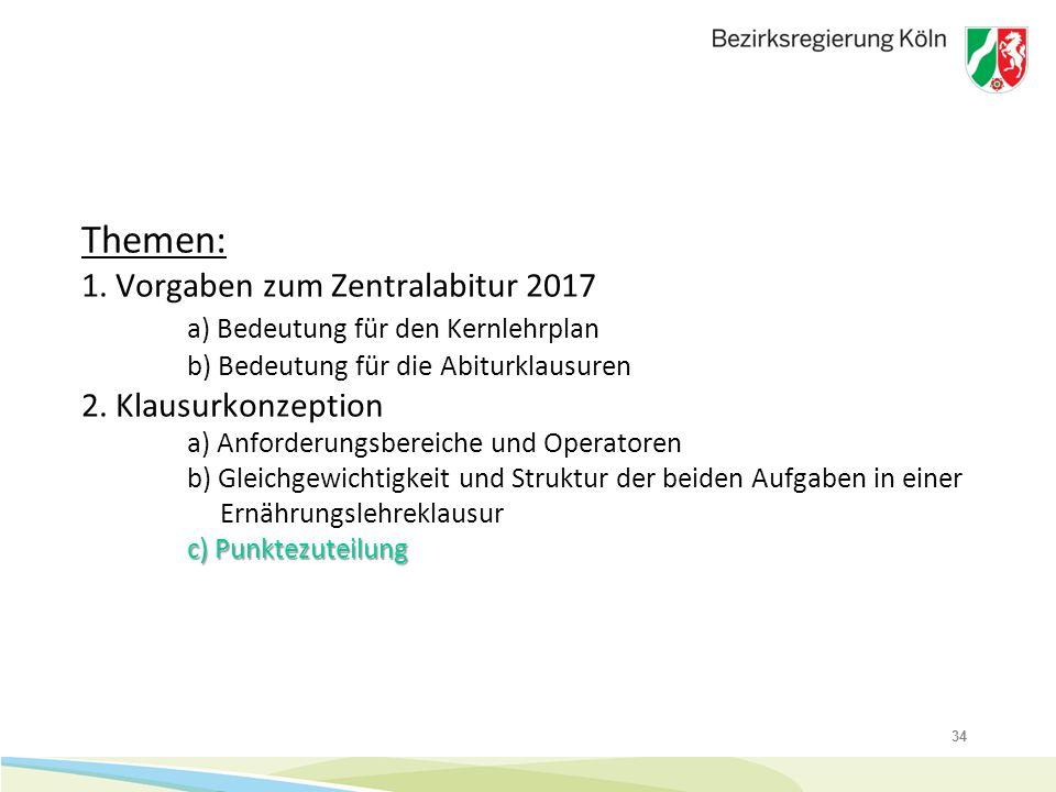 34 c) Punktezuteilung Themen: 1. Vorgaben zum Zentralabitur 2017 a) Bedeutung für den Kernlehrplan b) Bedeutung für die Abiturklausuren 2. Klausurkonz