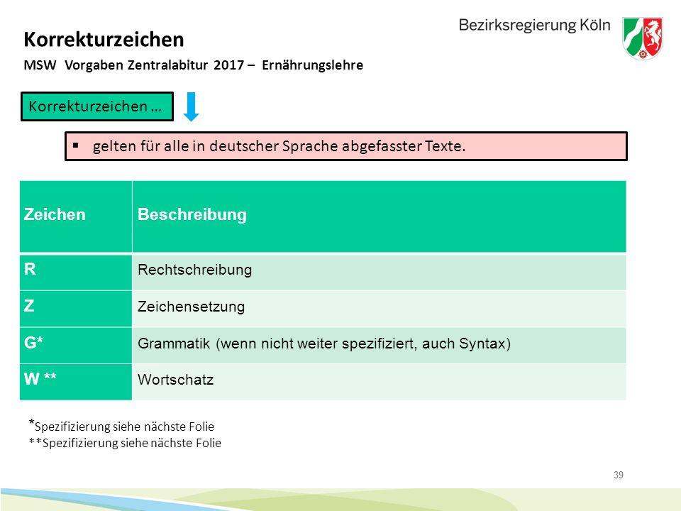39 Korrekturzeichen MSW Vorgaben Zentralabitur 2017 – Ernährungslehre Korrekturzeichen …  gelten für alle in deutscher Sprache abgefasster Texte. Zei