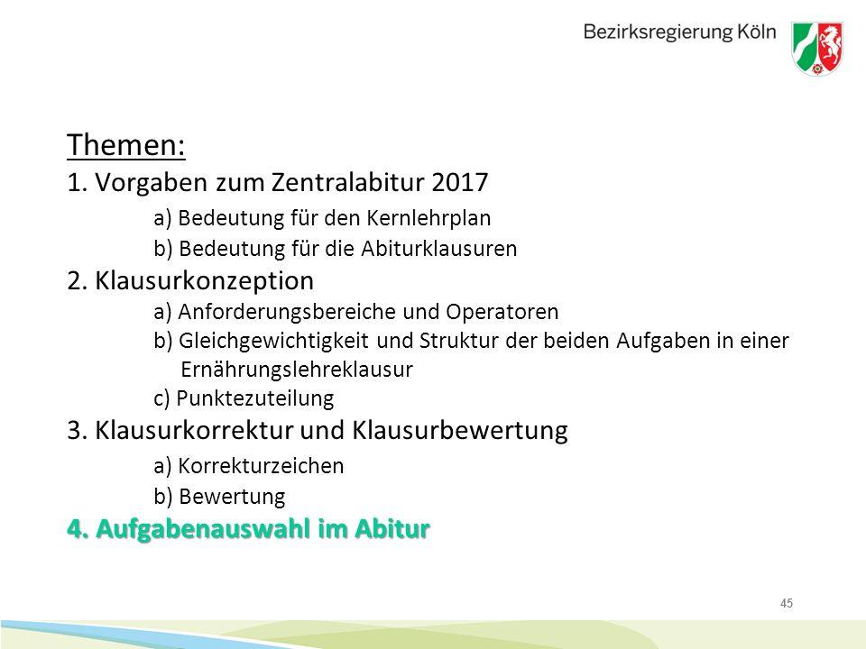 45 4. Aufgabenauswahl im Abitur Themen: 1. Vorgaben zum Zentralabitur 2017 a) Bedeutung für den Kernlehrplan b) Bedeutung für die Abiturklausuren 2. K