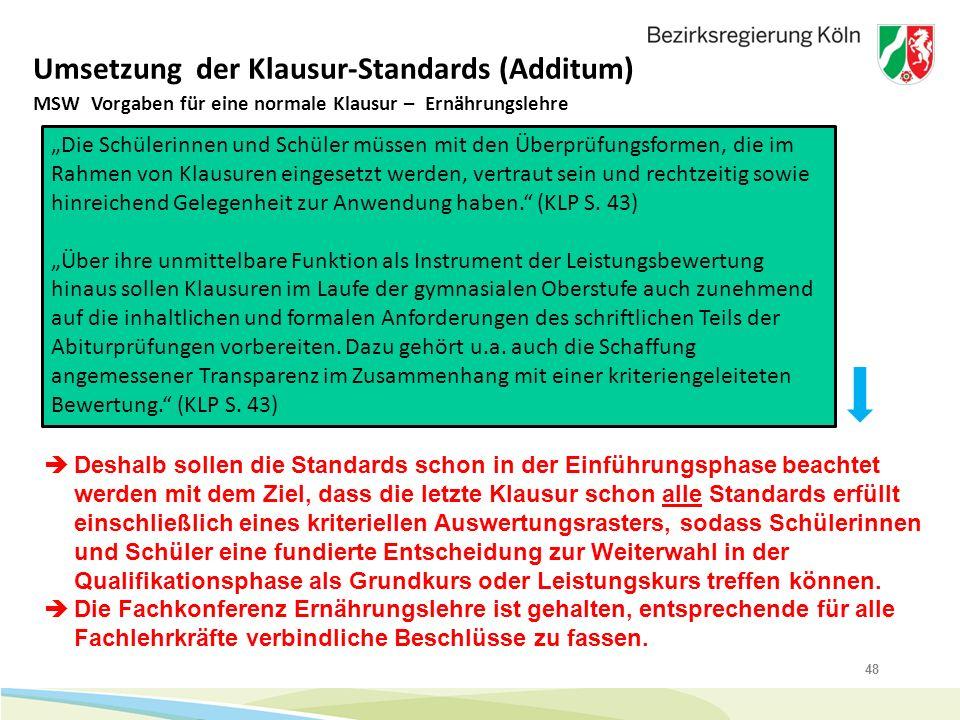 """48 Umsetzung der Klausur-Standards (Additum) MSW Vorgaben für eine normale Klausur – Ernährungslehre """"Die Schülerinnen und Schüler müssen mit den Über"""