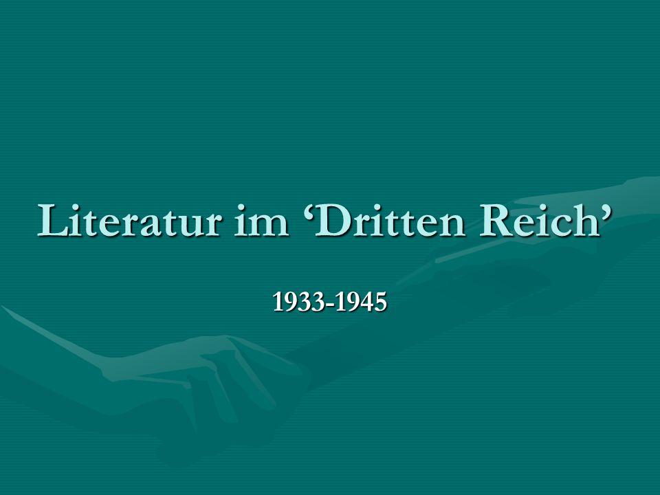 Literatur im 'Dritten Reich' 1933-1945