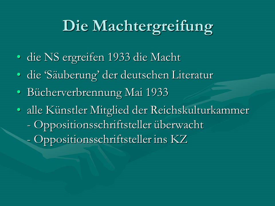 Die Machtergreifung die NS ergreifen 1933 die Machtdie NS ergreifen 1933 die Macht die 'Säuberung' der deutschen Literaturdie 'Säuberung' der deutsche