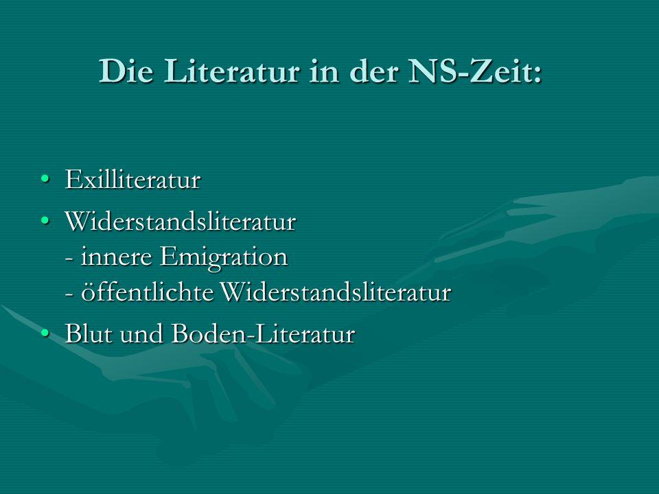 Die Literatur in der NS-Zeit: Die Literatur in der NS-Zeit: ExilliteraturExilliteratur Widerstandsliteratur - innere Emigration - öffentlichte Widerst