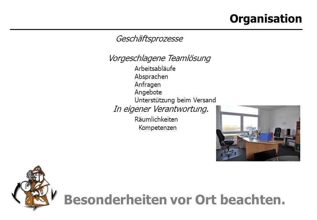 Besonderheiten vor Ort beachten. Organisation Geschäftsprozesse Vorgeschlagene Teamlösung Arbeitsabläufe Absprachen Anfragen Angebote Unterstützung be