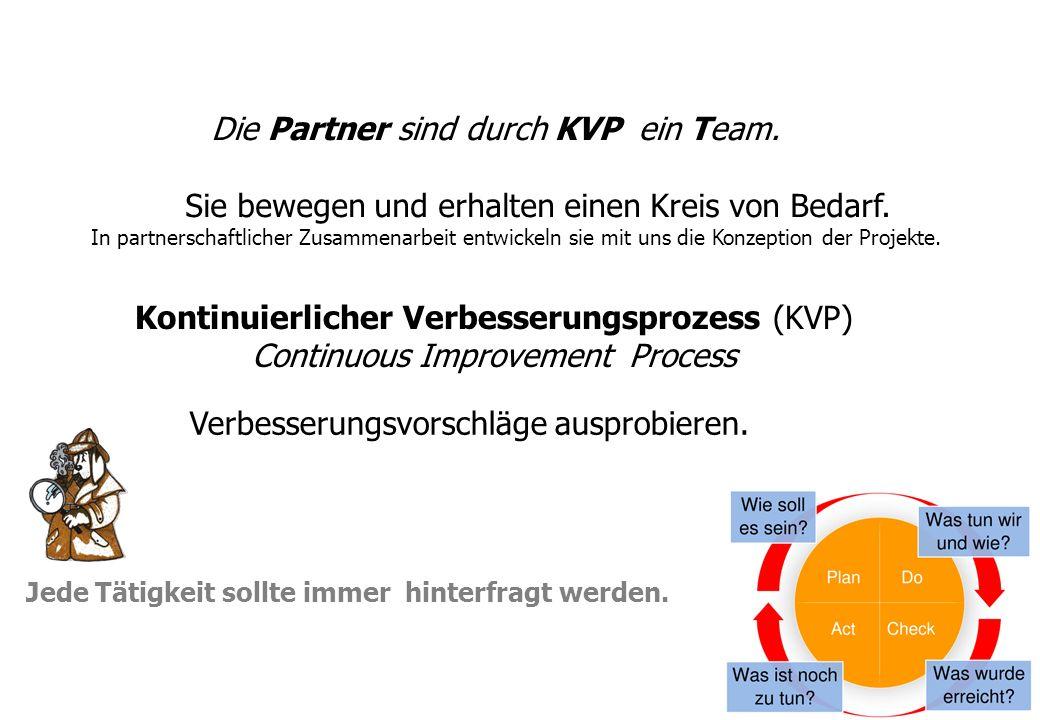 Jede Tätigkeit sollte immer hinterfragt werden. Die Partner sind durch KVP ein Team. Sie bewegen und erhalten einen Kreis von Bedarf. In partnerschaft