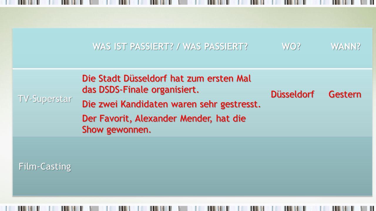 Wer bekommt die Hauptrolle.Der Regisseur Kai Wessel ist heute in Köln.
