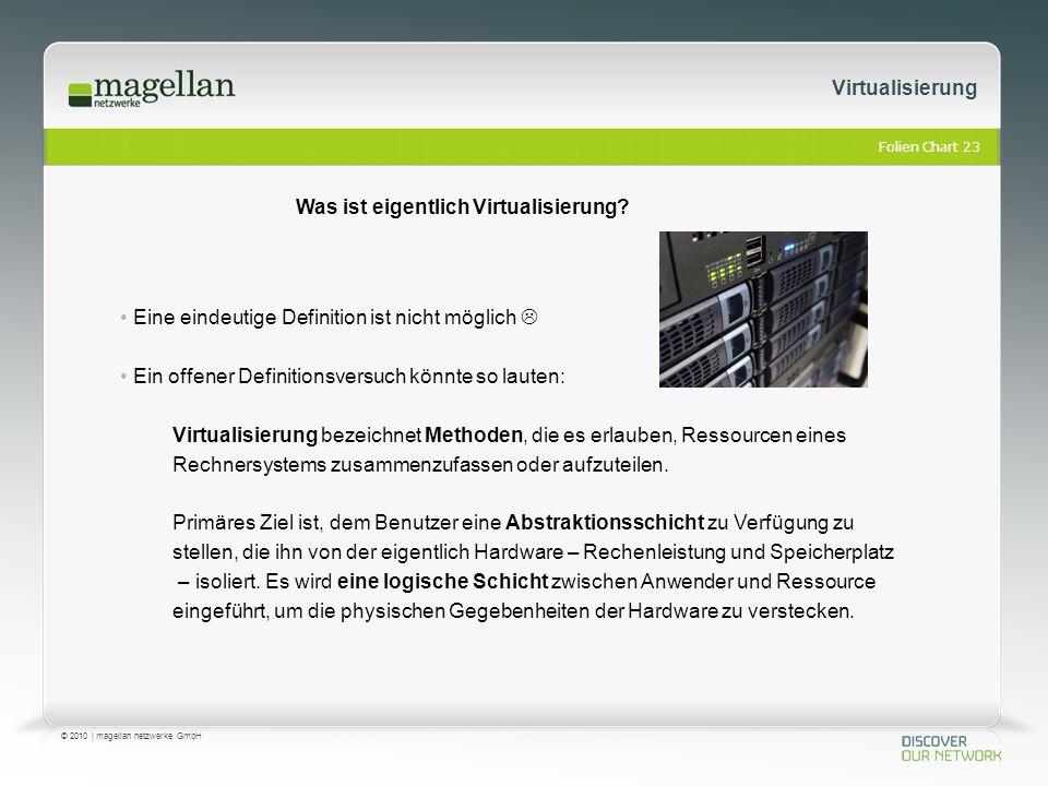 Folien Chart 23 © 2010 | magellan netzwerke GmbH Virtualisierung Eine eindeutige Definition ist nicht möglich  Ein offener Definitionsversuch könnte