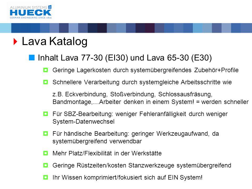  Lava Katalog  Inhalt Lava 77-30 (EI30) und Lava 65-30 (E30)  Geringe Lagerkosten durch systemübergreifendes Zubehör+Profile  Schnellere Verarbeit