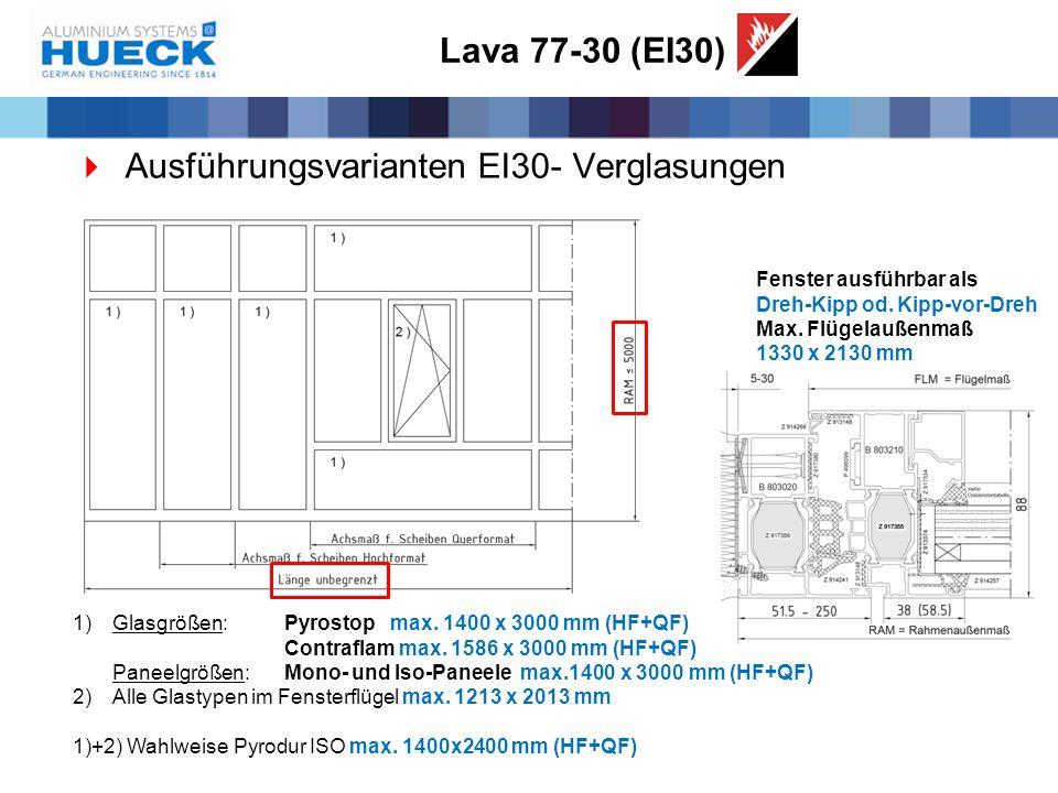 Lava 77-30 (EI30)  Ausführungsvarianten EI30- Verglasungen 1)Glasgrößen: Pyrostop max. 1400 x 3000 mm (HF+QF) Contraflam max. 1586 x 3000 mm (HF+QF)
