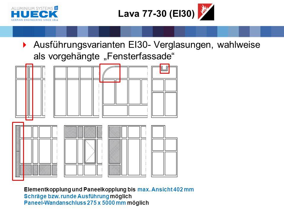 """Lava 77-30 (EI30)  Ausführungsvarianten EI30- Verglasungen, wahlweise als vorgehängte """"Fensterfassade"""" Elementkopplung und Paneelkopplung bismax. Ans"""