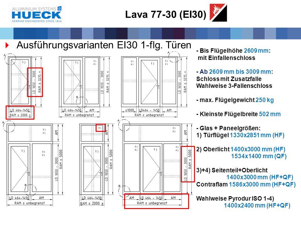 Lava 77-30 (EI30)  Ausführungsvarianten EI30 1-flg. Türen - Bis Flügelhöhe 2609 mm: mit Einfallenschloss - Ab 2609 mm bis 3009 mm: Schloss mit Zusatz