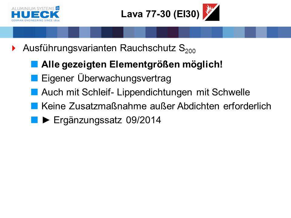 Lava 77-30 (EI30)  Ausführungsvarianten Rauchschutz S 200  Alle gezeigten Elementgrößen möglich!  Eigener Überwachungsvertrag  Auch mit Schleif- L