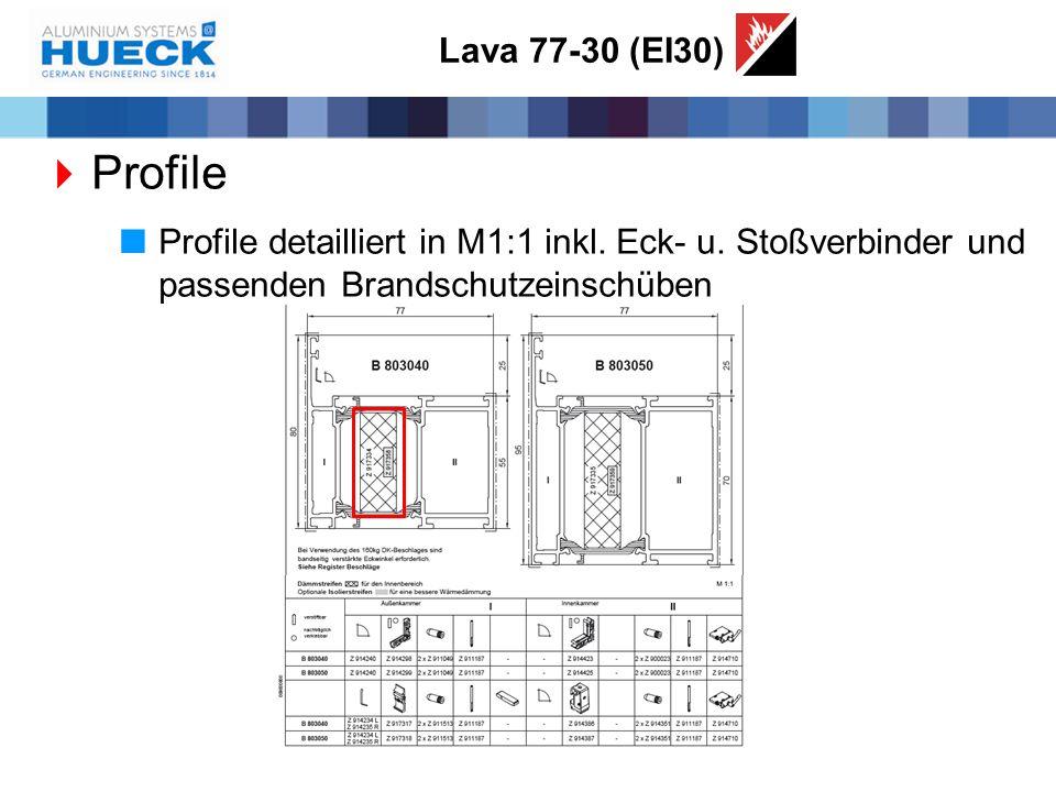Lava 77-30 (EI30)  Profile  Profile detailliert in M1:1 inkl. Eck- u. Stoßverbinder und passenden Brandschutzeinschüben