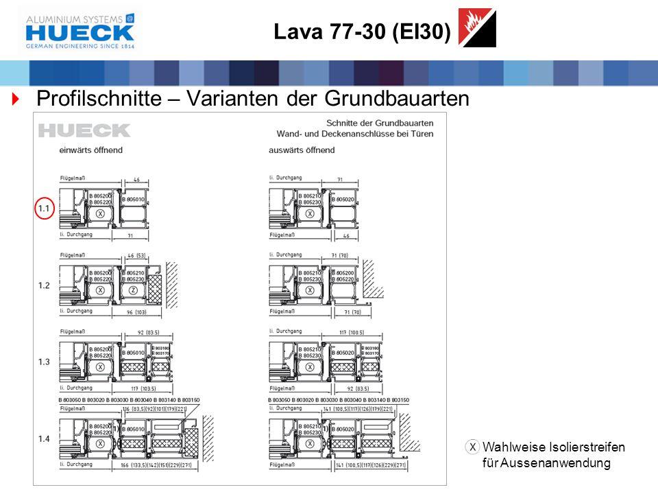 Lava 77-30 (EI30)  Profilschnitte – Varianten der Grundbauarten Wahlweise Isolierstreifen für Aussenanwendung