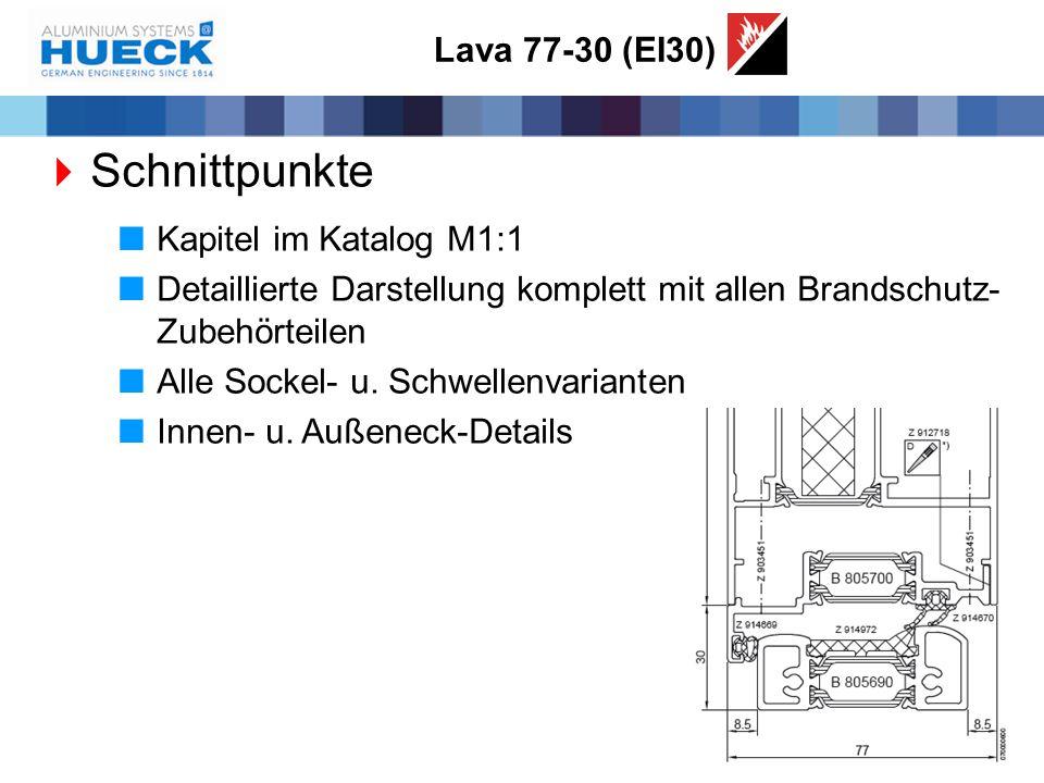 Lava 77-30 (EI30)  Schnittpunkte  Kapitel im Katalog M1:1  Detaillierte Darstellung komplett mit allen Brandschutz- Zubehörteilen  Alle Sockel- u.