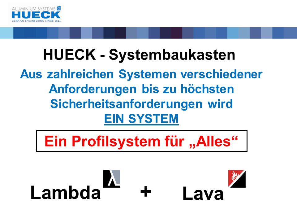 """HUECK - Systembaukasten Ein Profilsystem für """"Alles"""" Lambda Lava + Aus zahlreichen Systemen verschiedener Anforderungen bis zu höchsten Sicherheitsanf"""