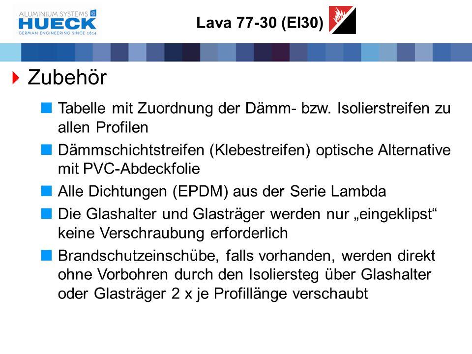 Lava 77-30 (EI30)  Zubehör  Tabelle mit Zuordnung der Dämm- bzw. Isolierstreifen zu allen Profilen  Dämmschichtstreifen (Klebestreifen) optische Al