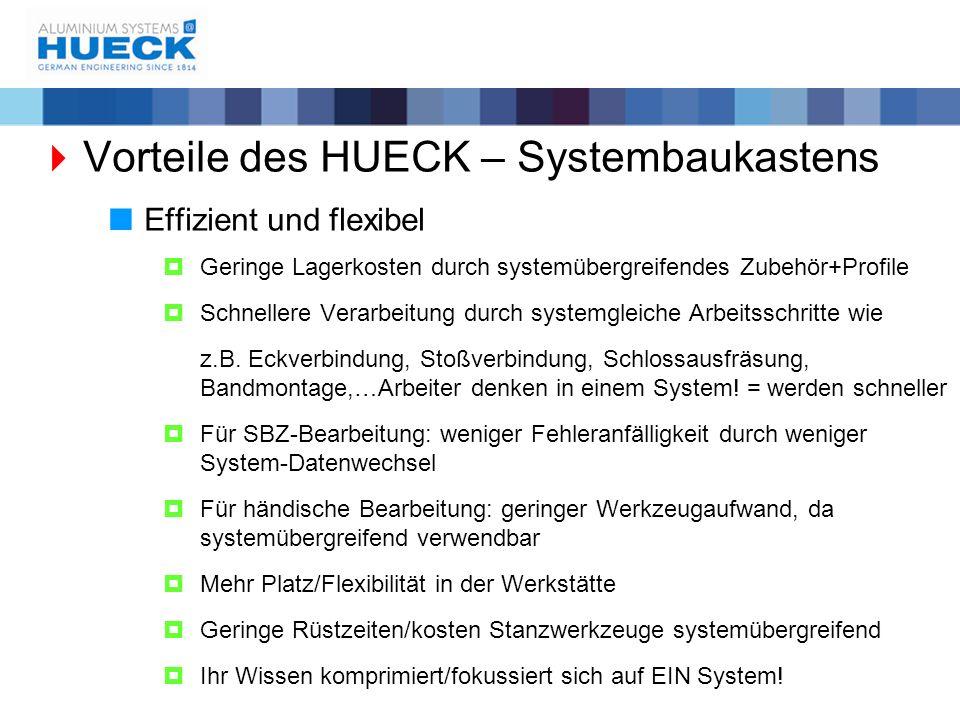  Vorteile des HUECK – Systembaukastens  Effizient und flexibel  Geringe Lagerkosten durch systemübergreifendes Zubehör+Profile  Schnellere Verarbe