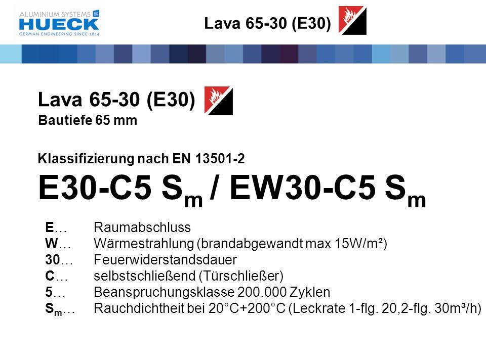 Bautiefe 65 mm Klassifizierung nach EN 13501-2 E30-C5 S m / EW30-C5 S m E…Raumabschluss W…Wärmestrahlung (brandabgewandt max 15W/m²) 30…Feuerwiderstan