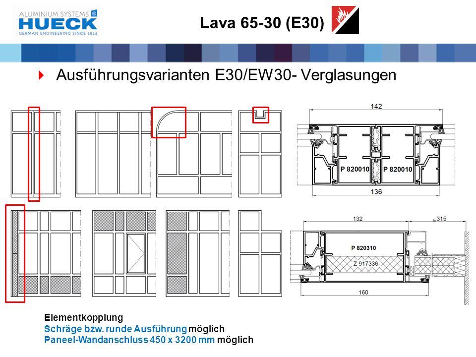 Lava 65-30 (E30)  Ausführungsvarianten E30/EW30- Verglasungen Elementkopplung Schräge bzw. runde Ausführung möglich Paneel-Wandanschluss 450 x 3200 m