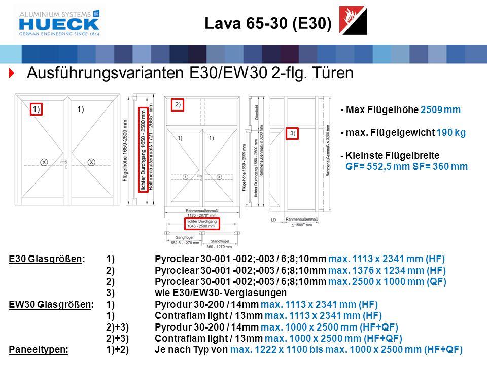 Lava 65-30 (E30)  Ausführungsvarianten E30/EW30 2-flg. Türen - Max Flügelhöhe 2509 mm - max. Flügelgewicht 190 kg -Kleinste Flügelbreite GF= 552,5 mm