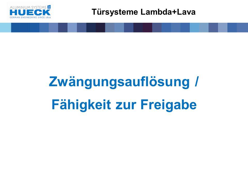 Türsysteme Lambda+Lava Zwängungsauflösung / Fähigkeit zur Freigabe
