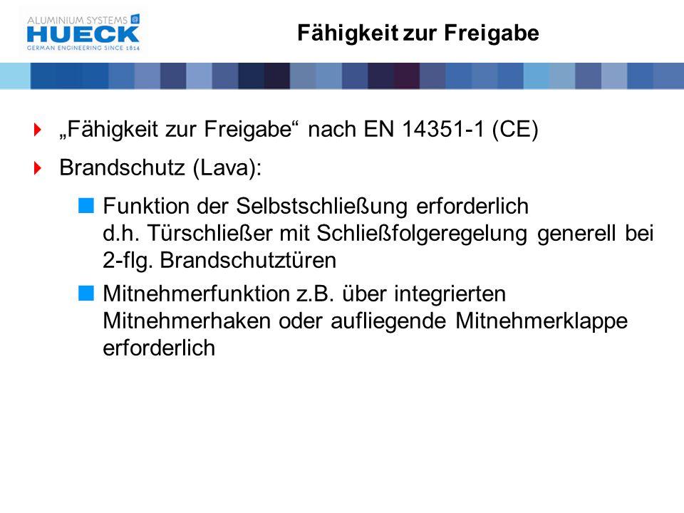 """ """"Fähigkeit zur Freigabe"""" nach EN 14351-1 (CE)  Brandschutz (Lava):  Funktion der Selbstschließung erforderlich d.h. Türschließer mit Schließfolger"""