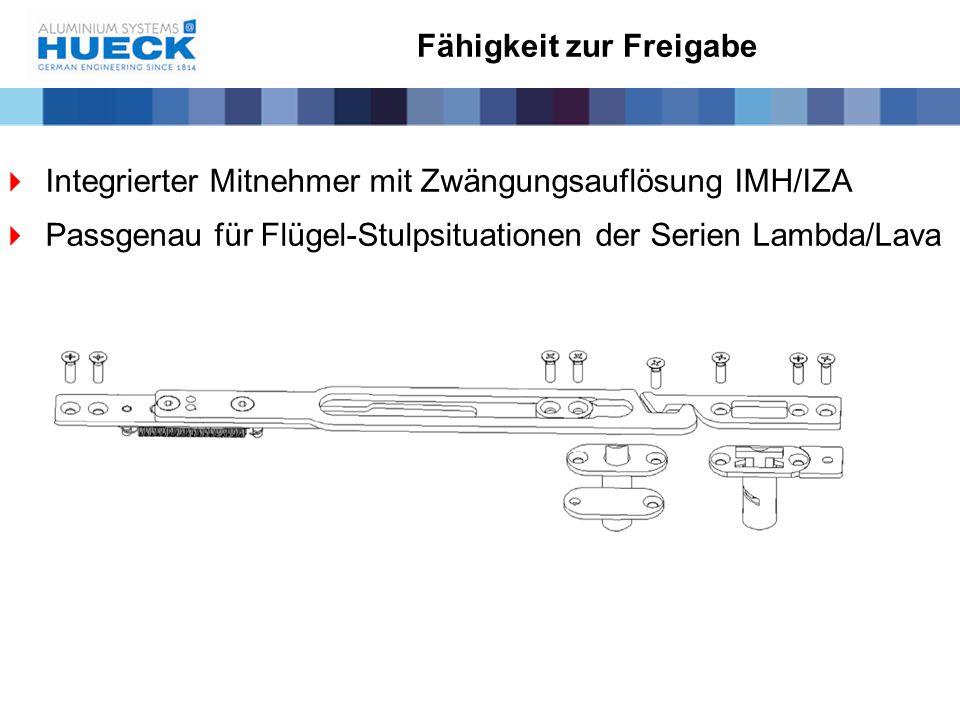 Fähigkeit zur Freigabe  Integrierter Mitnehmer mit Zwängungsauflösung IMH/IZA  Passgenau für Flügel-Stulpsituationen der Serien Lambda/Lava