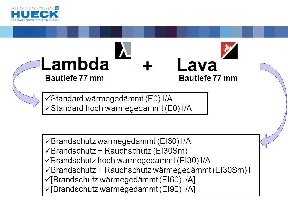 Standard wärmegedämmt (E0) I/A Standard hoch wärmegedämmt (E0) I/A Brandschutz wärmegedämmt (EI30) I/A Brandschutz + Rauchschutz (EI30Sm) I Brandschut