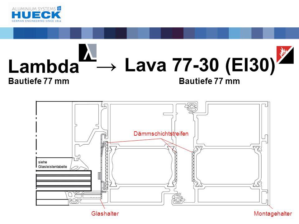 Lambda Bautiefe 77 mm Lava 77-30 (EI30) Bautiefe 77 mm → Dämmschichtstreifen GlashalterMontagehalter