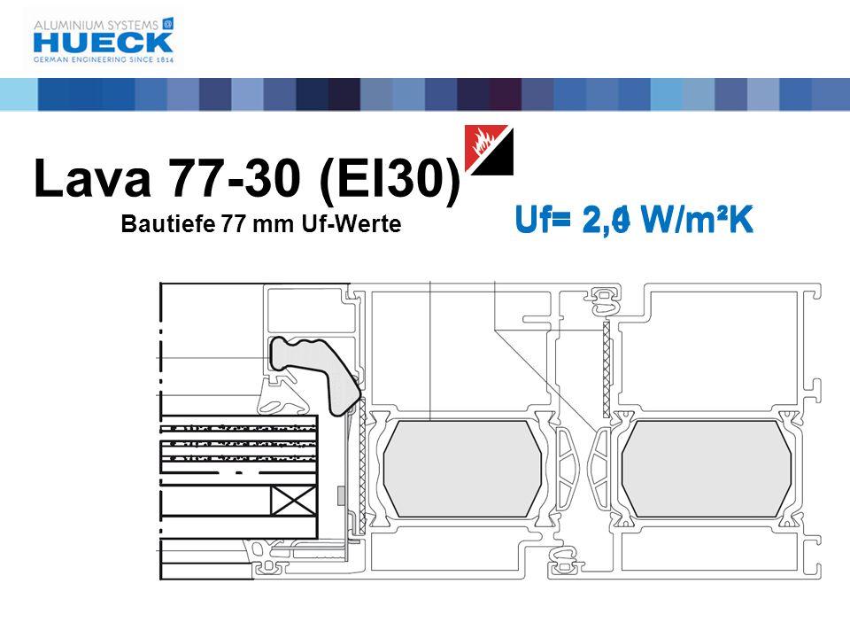Lava 77-30 (EI30) Bautiefe 77 mm Uf-Werte Uf= 2,4 W/m²K Uf= 2,0 W/m²K