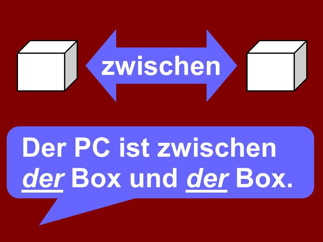 zwischen Der PC ist zwischen der Box und der Box.