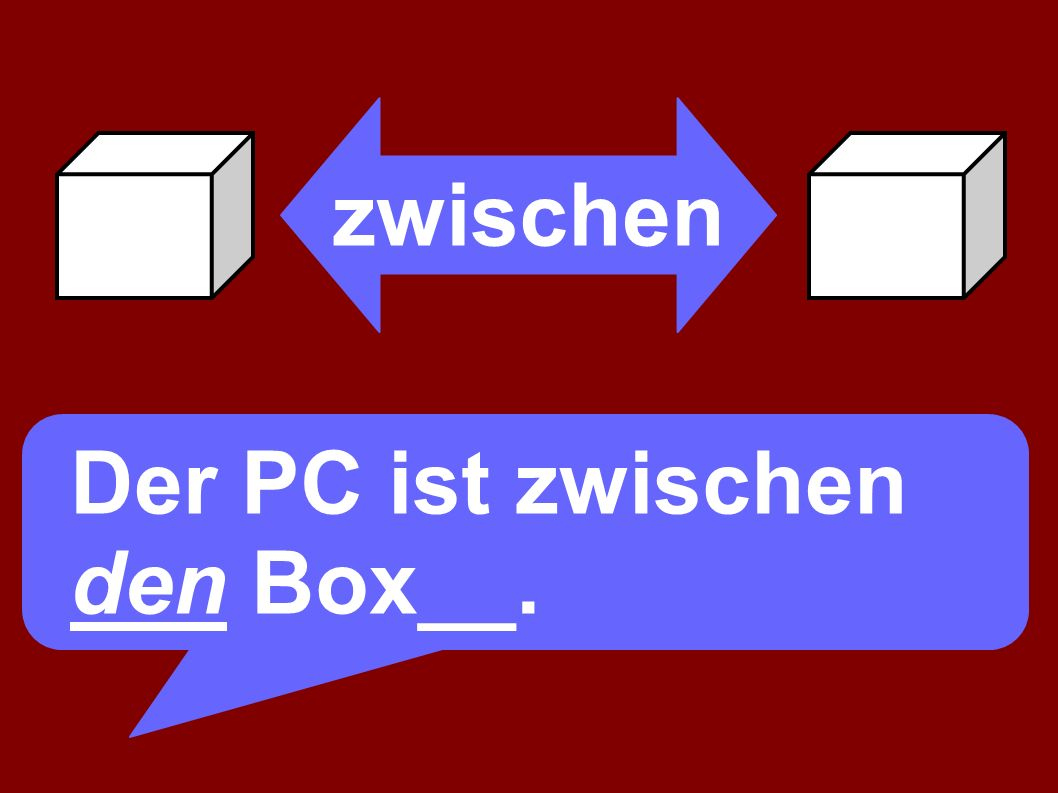 zwischen Der PC ist zwischen den Boxen.