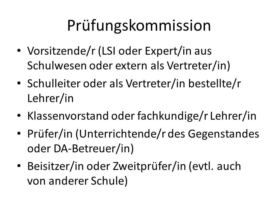 Prüfungskommission Vorsitzende/r (LSI oder Expert/in aus Schulwesen oder extern als Vertreter/in) Schulleiter oder als Vertreter/in bestellte/r Lehrer/in Klassenvorstand oder fachkundige/r Lehrer/in Prüfer/in (Unterrichtende/r des Gegenstandes oder DA-Betreuer/in) Beisitzer/in oder Zweitprüfer/in (evtl.