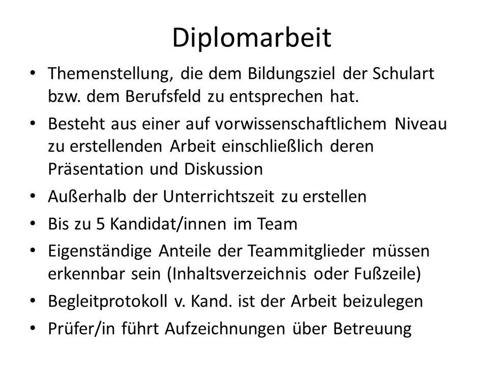 Diplomarbeit Themenstellung, die dem Bildungsziel der Schulart bzw.