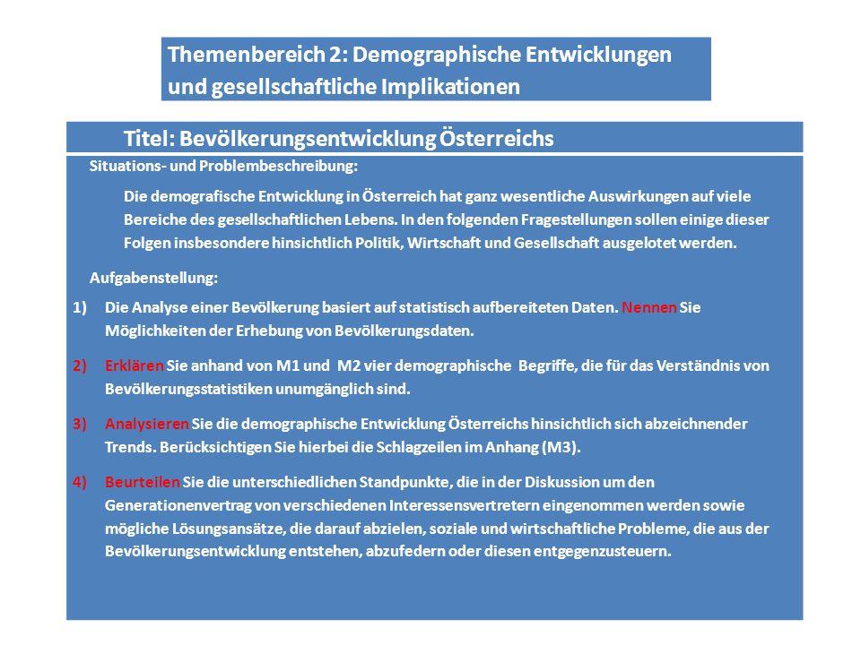 Titel: Bevölkerungsentwicklung Österreichs Situations- und Problembeschreibung: Die demografische Entwicklung in Österreich hat ganz wesentliche Auswirkungen auf viele Bereiche des gesellschaftlichen Lebens.