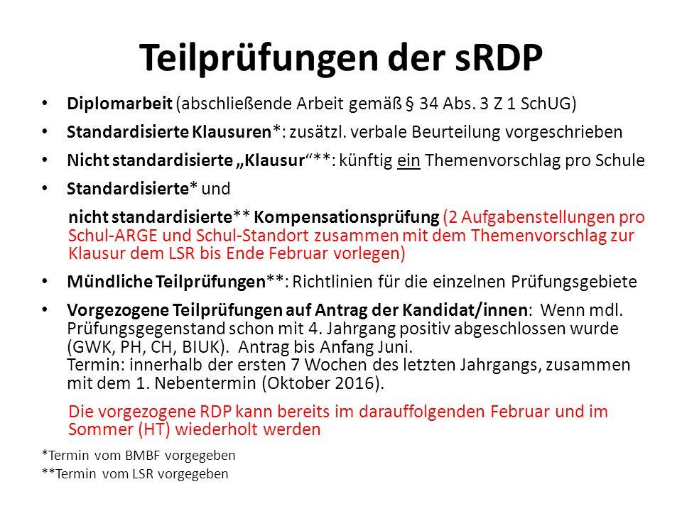 Teilprüfungen der sRDP Diplomarbeit (abschließende Arbeit gemäß § 34 Abs.