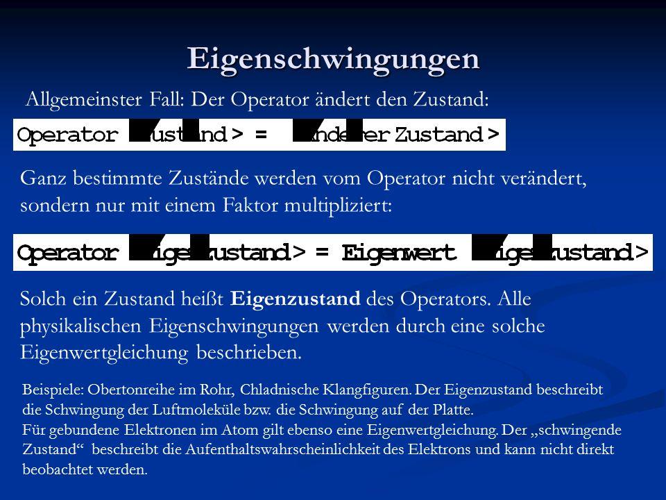 Eigenschwingungen Allgemeinster Fall: Der Operator ändert den Zustand: Ganz bestimmte Zustände werden vom Operator nicht verändert, sondern nur mit ei