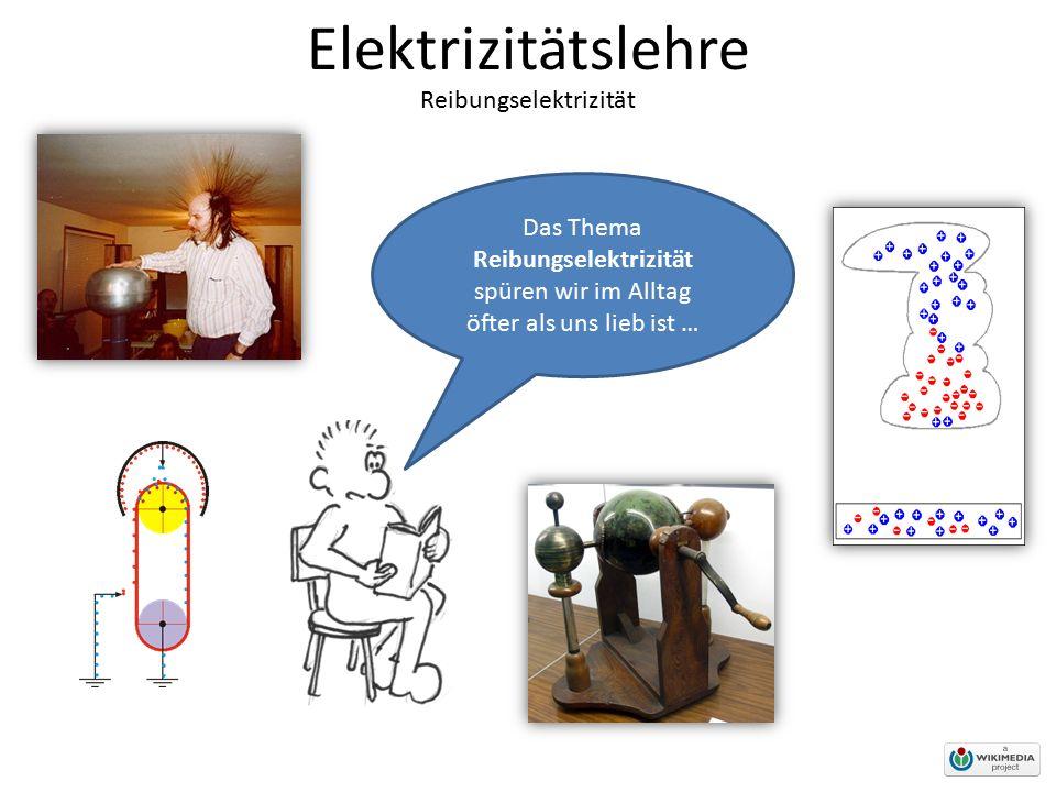 Elektrizitätslehre Reibungselektrizität Das Thema Reibungselektrizität spüren wir im Alltag öfter als uns lieb ist …