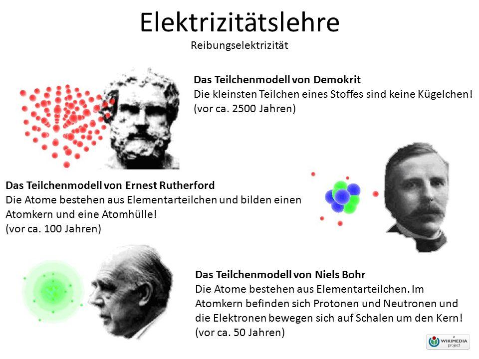 Elektrizitätslehre Reibungselektrizität Das Teilchenmodell von Demokrit Die kleinsten Teilchen eines Stoffes sind keine Kügelchen! (vor ca. 2500 Jahre