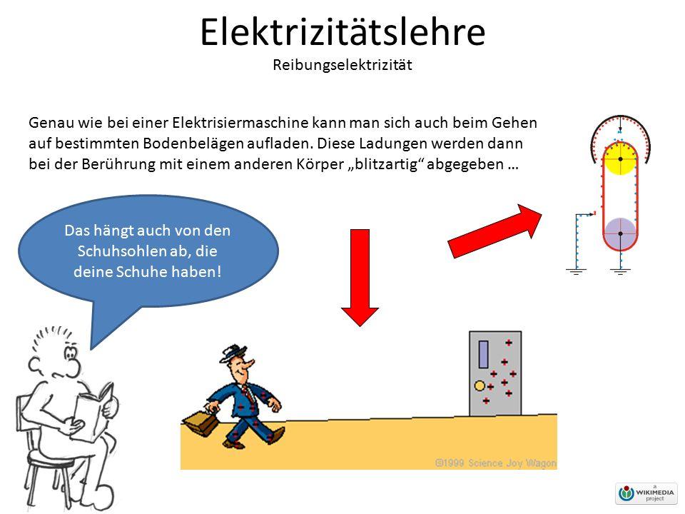 Elektrizitätslehre Reibungselektrizität Das hängt auch von den Schuhsohlen ab, die deine Schuhe haben! Genau wie bei einer Elektrisiermaschine kann ma