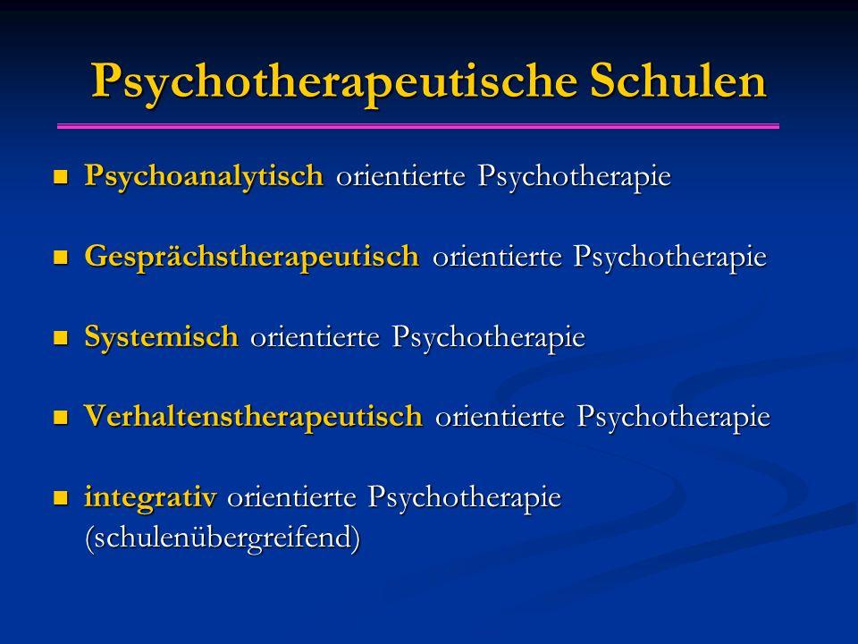 Psychotherapeutische Schulen Psychoanalytisch orientierte Psychotherapie Psychoanalytisch orientierte Psychotherapie Gesprächstherapeutisch orientierte Psychotherapie Gesprächstherapeutisch orientierte Psychotherapie Systemisch orientierte Psychotherapie Systemisch orientierte Psychotherapie Verhaltenstherapeutisch orientierte Psychotherapie Verhaltenstherapeutisch orientierte Psychotherapie integrativ orientierte Psychotherapie (schulenübergreifend) integrativ orientierte Psychotherapie (schulenübergreifend)